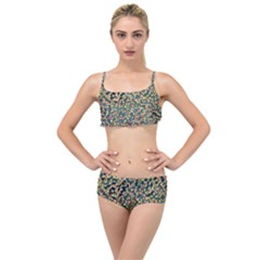 Background Cubism Mosaic Vintage Layered Top Bikini Set by Wegoenart