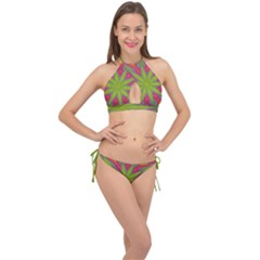 Abstract Art Abstract Background Cross Front Halter Bikini Set