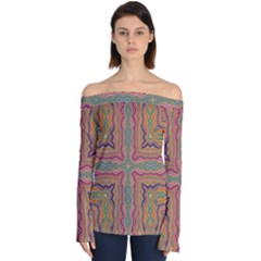 Abstract Design Abstract Art Orange Off Shoulder Long Sleeve Top