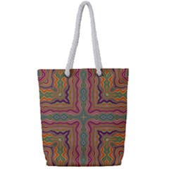 Abstract Design Abstract Art Orange Full Print Rope Handle Tote (small)