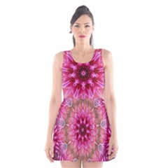 Flower Mandala Art Pink Abstract Scoop Neck Skater Dress