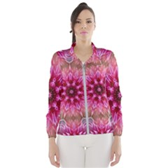 Flower Mandala Art Pink Abstract Windbreaker (women)
