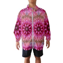Flower Mandala Art Pink Abstract Windbreaker (kids)
