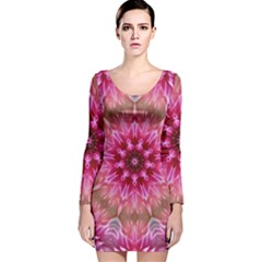 Flower Mandala Art Pink Abstract Long Sleeve Velvet Bodycon Dress