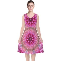 Flower Mandala Art Pink Abstract V Neck Midi Sleeveless Dress