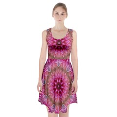 Flower Mandala Art Pink Abstract Racerback Midi Dress