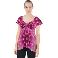 Flower Mandala Art Pink Abstract Lace Front Dolly Top