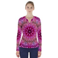 Flower Mandala Art Pink Abstract V-neck Long Sleeve Top