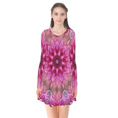 Flower Mandala Art Pink Abstract Long Sleeve V-neck Flare Dress