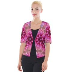 Flower Mandala Art Pink Abstract Cropped Button Cardigan