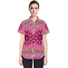 Flower Mandala Art Pink Abstract Women s Short Sleeve Shirt