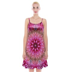 Flower Mandala Art Pink Abstract Spaghetti Strap Velvet Dress