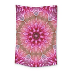 Flower Mandala Art Pink Abstract Small Tapestry