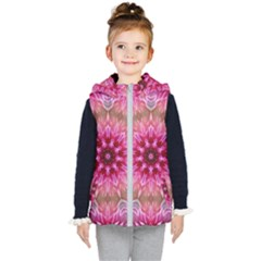 Flower Mandala Art Pink Abstract Kid s Hooded Puffer Vest by Wegoenart
