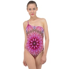 Flower Mandala Art Pink Abstract Classic One Shoulder Swimsuit