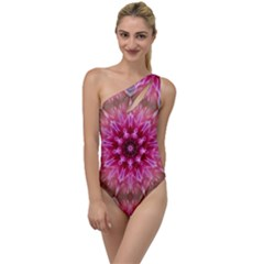 Flower Mandala Art Pink Abstract To One Side Swimsuit