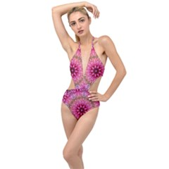 Flower Mandala Art Pink Abstract Plunging Cut Out Swimsuit