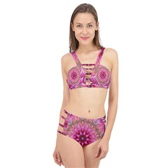 Flower Mandala Art Pink Abstract Cage Up Bikini Set