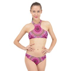 Flower Mandala Art Pink Abstract High Neck Bikini Set
