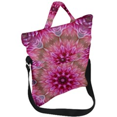 Flower Mandala Art Pink Abstract Fold Over Handle Tote Bag
