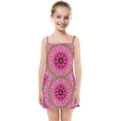 Flower Mandala Art Pink Abstract Kids Summer Sun Dress by Wegoenart