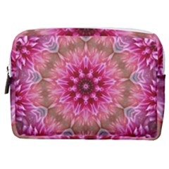 Flower Mandala Art Pink Abstract Make Up Pouch (medium) by Wegoenart