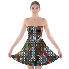 Christmas Cross Stitch Background Strapless Bra Top Dress