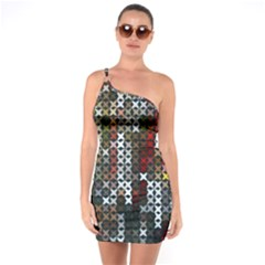 Christmas Cross Stitch Background One Soulder Bodycon Dress