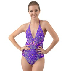 Art Abstract Background Halter Cut Out One Piece Swimsuit