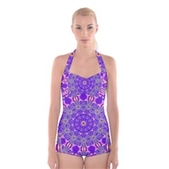 Art Abstract Background Boyleg Halter Swimsuit
