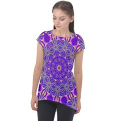 Art Abstract Background Cap Sleeve High Low Top