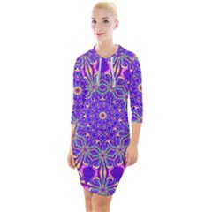 Art Abstract Background Quarter Sleeve Hood Bodycon Dress