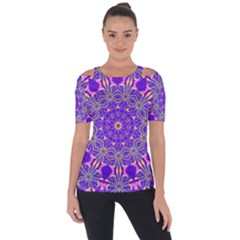 Art Abstract Background Shoulder Cut Out Short Sleeve Top