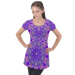 Art Abstract Background Puff Sleeve Tunic Top