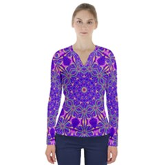 Art Abstract Background V Neck Long Sleeve Top