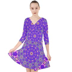 Art Abstract Background Quarter Sleeve Front Wrap Dress