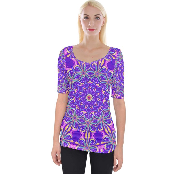 Art Abstract Background Wide Neckline Tee