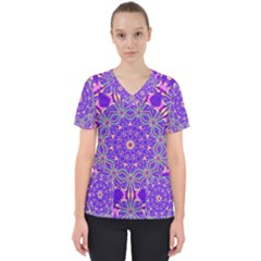 Art Abstract Background Women s V Neck Scrub Top