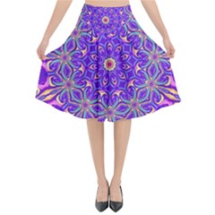 Art Abstract Background Flared Midi Skirt