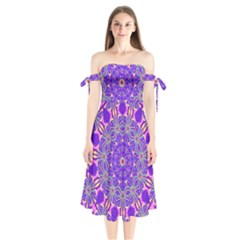 Art Abstract Background Shoulder Tie Bardot Midi Dress