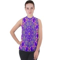Art Abstract Background Mock Neck Chiffon Sleeveless Top