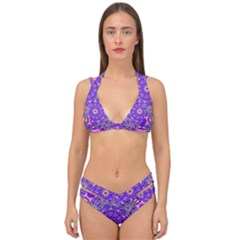 Art Abstract Background Double Strap Halter Bikini Set