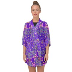 Art Abstract Background Half Sleeve Chiffon Kimono