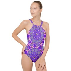 Art Abstract Background High Neck One Piece Swimsuit