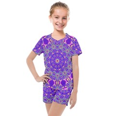 Art Abstract Background Kids  Mesh Tee And Shorts Set