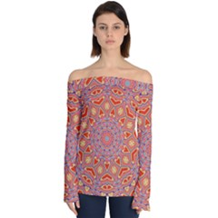 Art Abstract Background Off Shoulder Long Sleeve Top