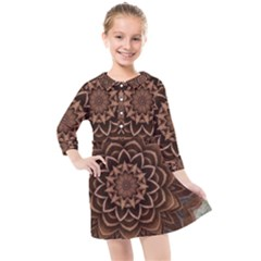Abstract Art Texture Mandala Kids  Quarter Sleeve Shirt Dress