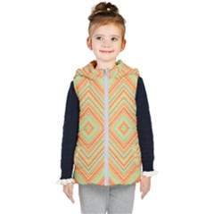 Geometric Art Abstract Background Kid s Hooded Puffer Vest