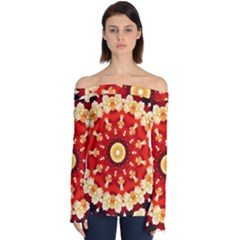 Abstract Art Abstract Background Off Shoulder Long Sleeve Top