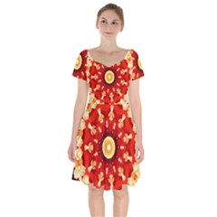 Abstract Art Abstract Background Short Sleeve Bardot Dress